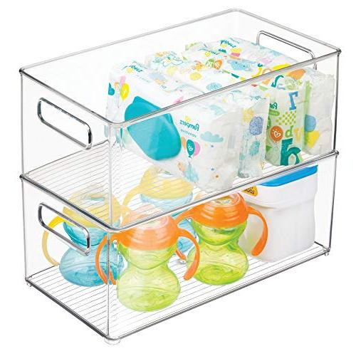 """mDesign Organizer Container with Handles Kitchen, - BPA Free Holds Snacks, Bottles, Food - 14.5"""" 4 Pack"""
