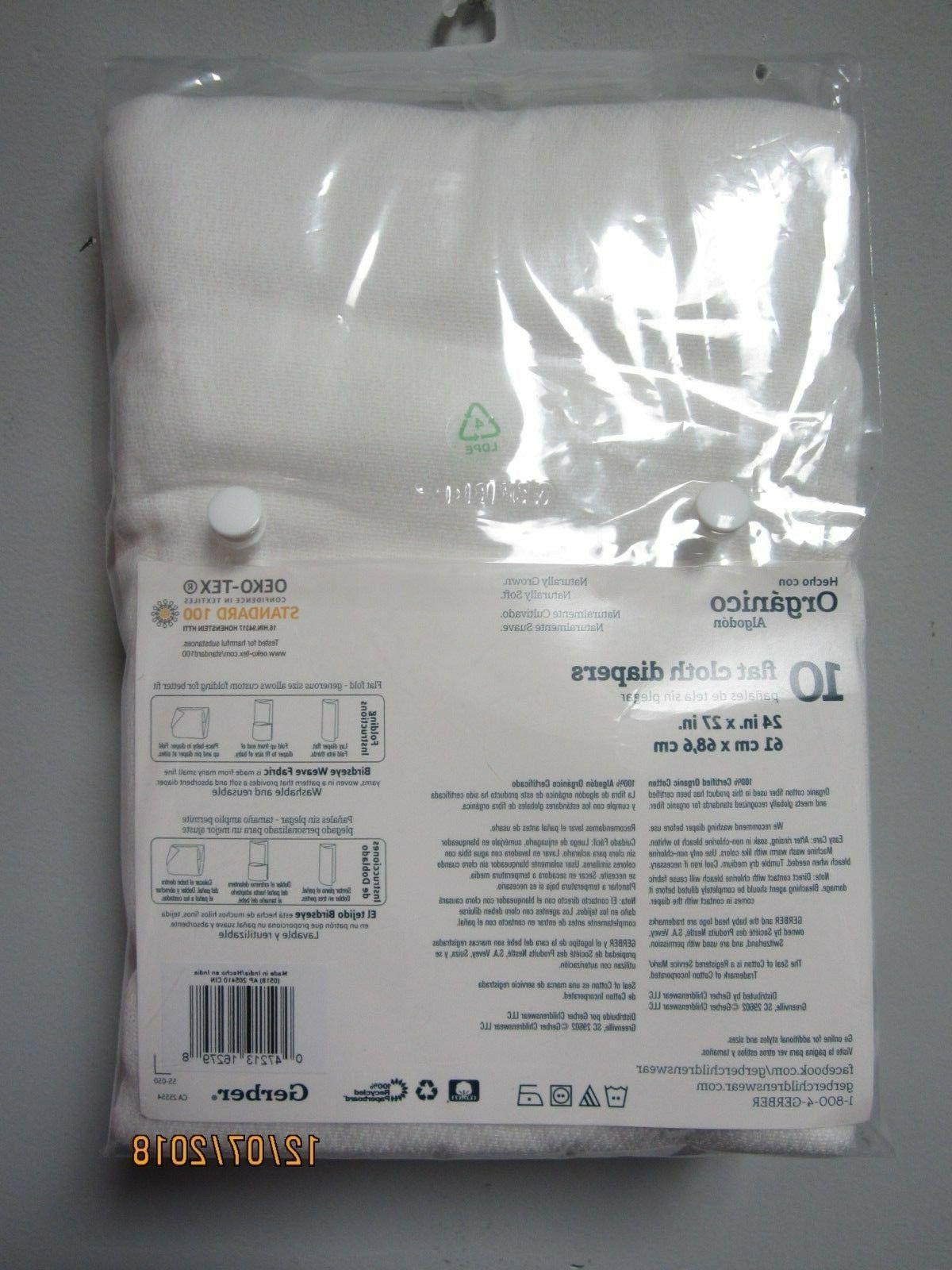 Gerber Unisex 10-Pack Flat Certified Oeko-Tex Organic Cotton