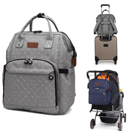 Backpack Multi-Function Bag Baby Diaper Polka Grey