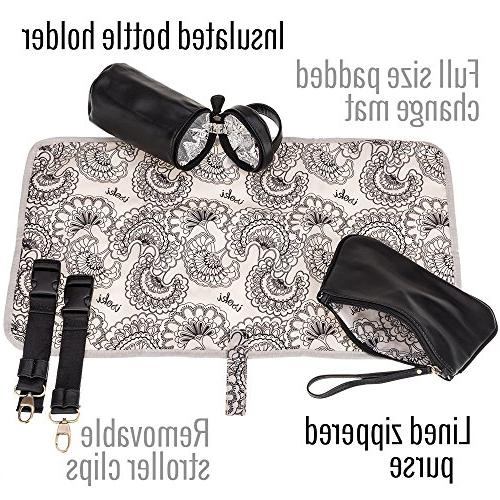 Isoki Madame Polly Baby Diaper Bag | Black for Boy and Organizer | Gift Set Changing Bottle