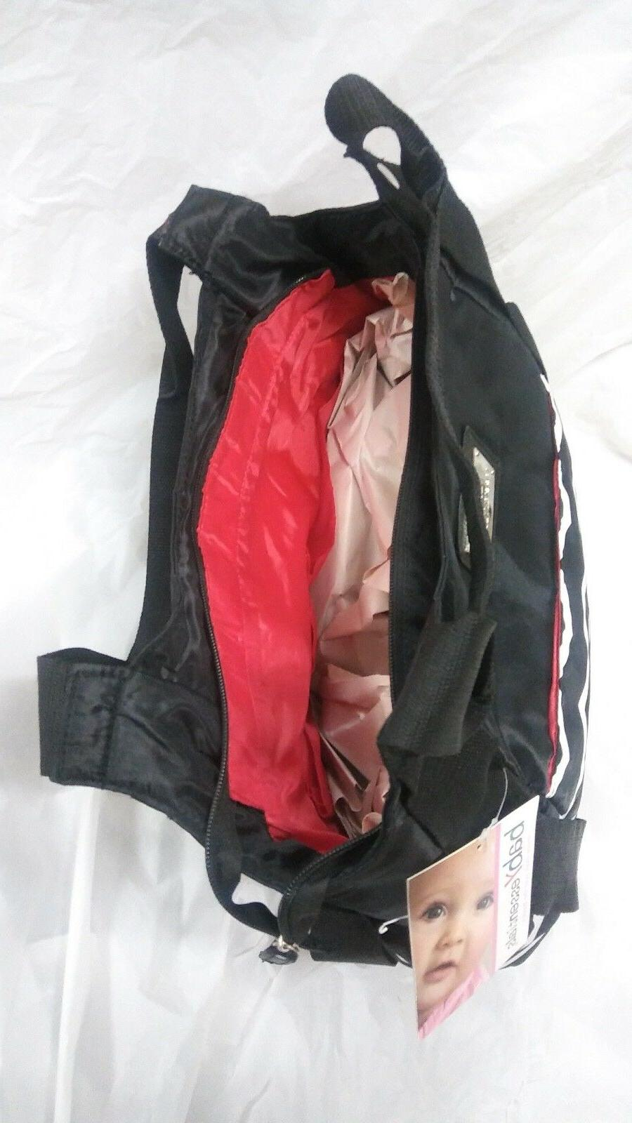 Baby Essentials Black Striped Diaper Bag & Changing Pad New