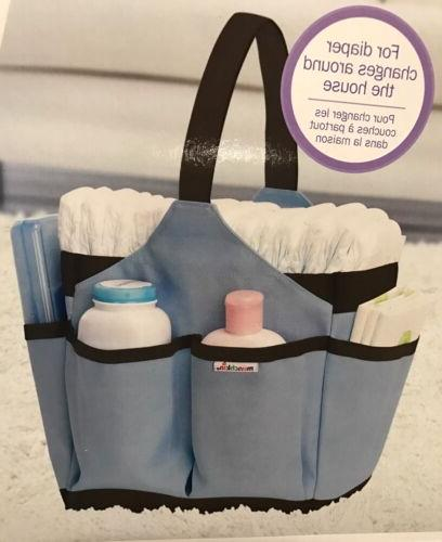 blue portable diaper caddy changing kit baby