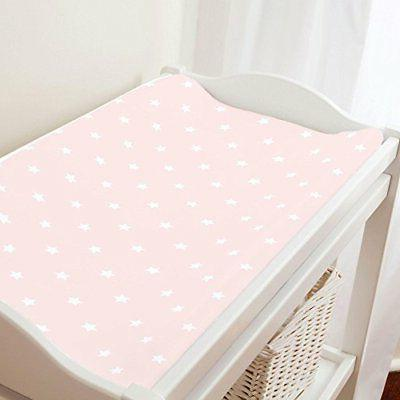 Carousel Designs Blush Pink and White Stars Changing Pad Cov