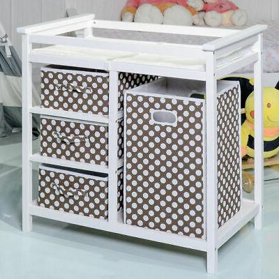 Brown Baby Changing Table Basket Hamper Diaper New