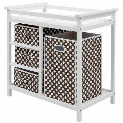 brown infant baby changing table w 3
