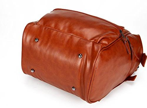 Classic Leather Diaper Bag Unisex Wide Pad, Multiple Insulated For Natural Tan Brown