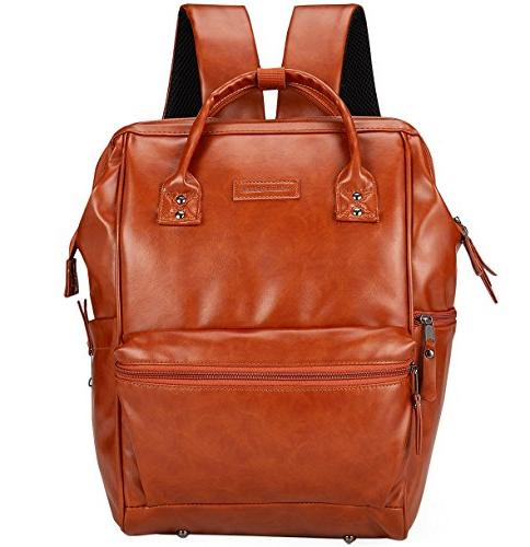 Classic Baby Diaper Backpack, Wide Open with Straps, Changing Pad, For Tan Brown