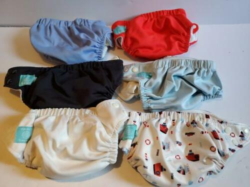 Charlie Banana Lot of 6 Cloth Diapers + 12 Insert Ahoy Pack