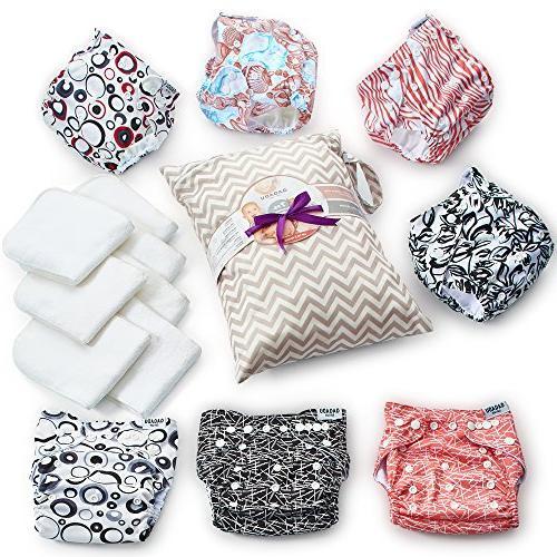 Cloth - 7 Piece Reusable Diaper Set - Baby Soft Insert Waterproof Carry - - Pocket Design for Boys Girls - Shower
