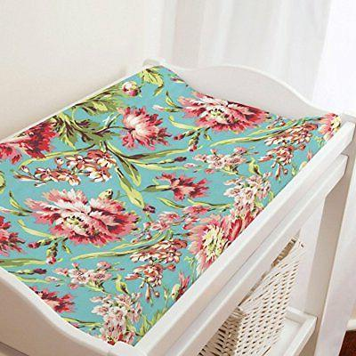 Carousel Designs Coral and Teal Floral Changing Pad Cover
