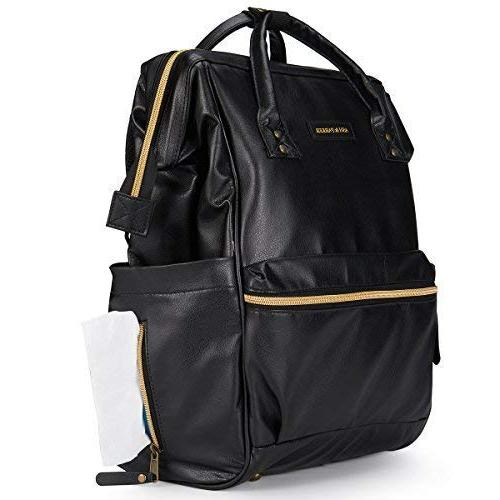 Designer Black Leather Baby Diaper Backpack, with Stroller Straps, Pad & Insulated Bags Dad