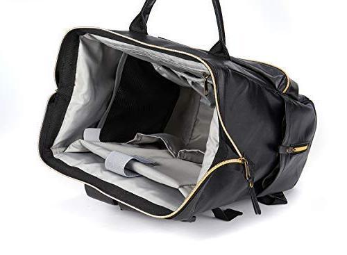 Designer Vegan Baby Diaper Backpack, Wide with Stroller Bags for Dad