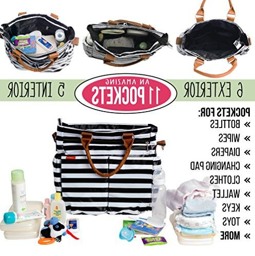 Diaper Bag by Zohzo - Tote with Pad, Pocket, Material, Stroller Straps, Strap Diaper