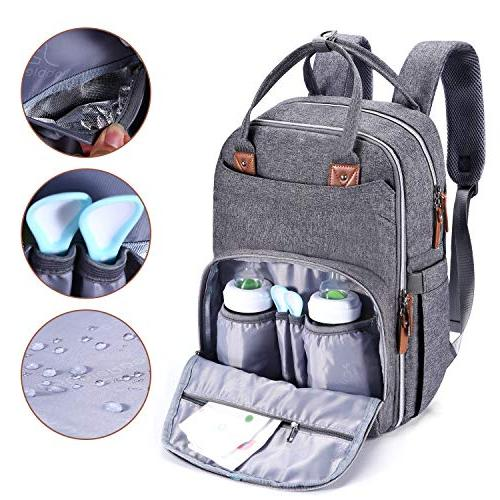 Diaper Bag Neutral Travel for Mom & Dad, Nappy Boys Girls, & Stylish, Gray