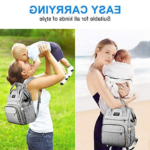 Large Diaper Bag Mokaloo Anti-Water Bags Insulated Pockets Stroller Straps, Travel Pack Port