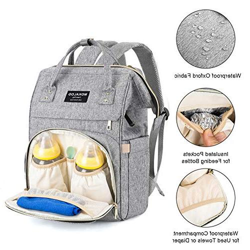 Large Diaper Bag Backpack, Mokaloo Nappy Insulated Pockets Straps, Travel Pack Built-in USB Charging Port