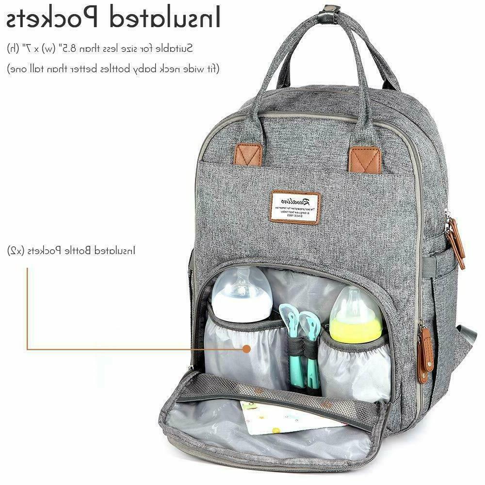 Diaper Backpack,RUVALINO Multifunction Travel Back Maternity Gray