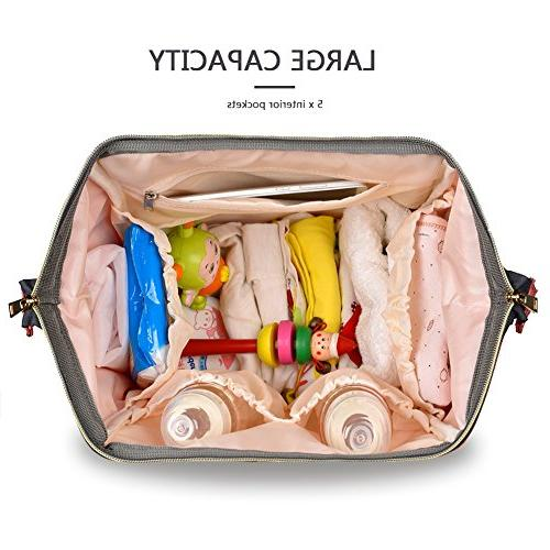 HaloVa Waterproof Travel Backpack Bags for Baby Care, Durable, Gray