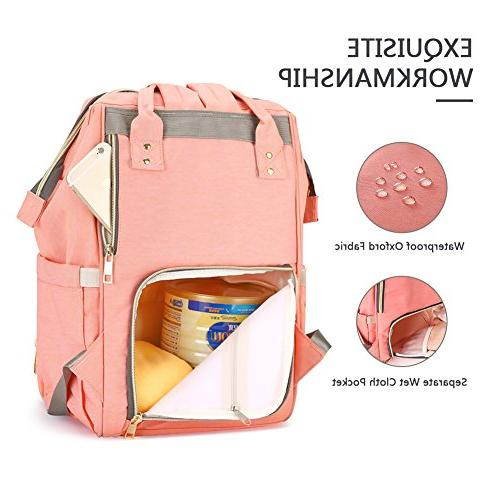 HaloVa Diaper Bag Waterproof Backpack Bags for Care, Large Durable,