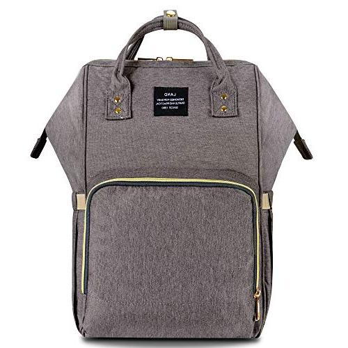 HaloVa Diaper Waterproof Backpack Bags Large Stylish and Durable, Gray