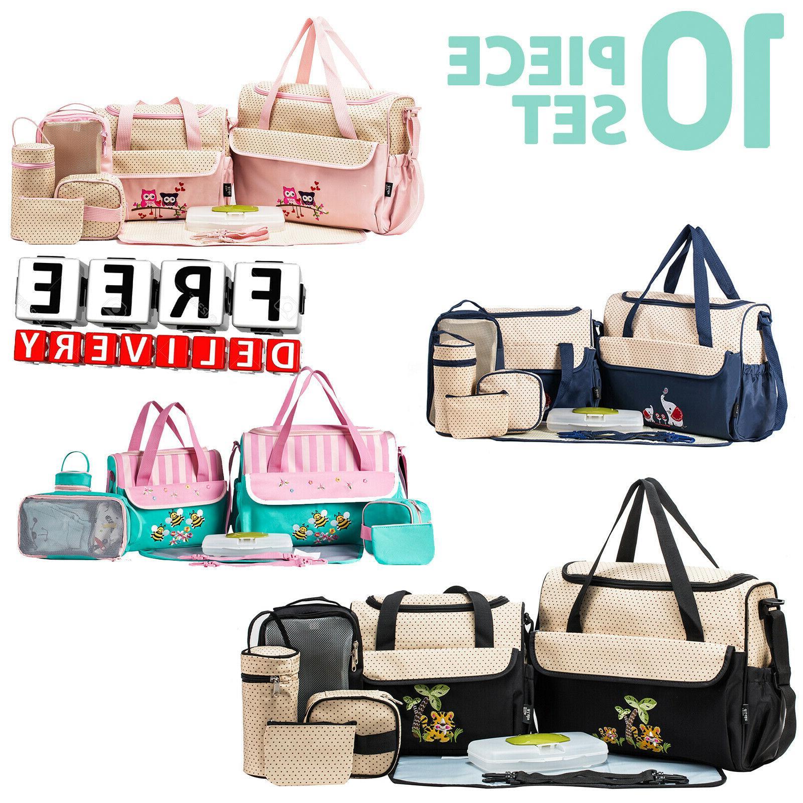 Diaper Bag Set 10Pc Baby Organizer Storage Girl Boy Mother S