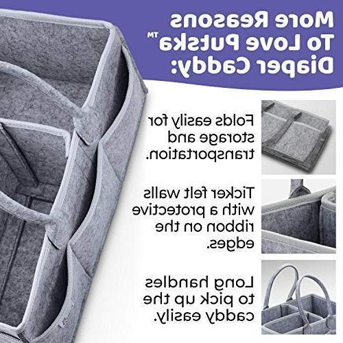 Putska Baby Diaper Caddy Organizer: Portable Holder Bag Car, bins gifts 2 Pacifier Clips,
