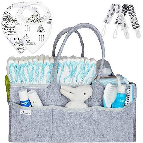 Putska Baby Organizer: for Changing Table and Car, Nursery Essentials bins Pacifier Clips, 2 Bibs