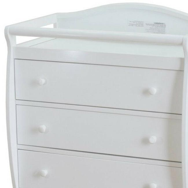 Diaper Changing Table Baby Dresser White Hardwood