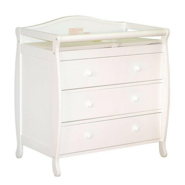 Diaper Changing Nursery Drawer Dresser White Hardwood