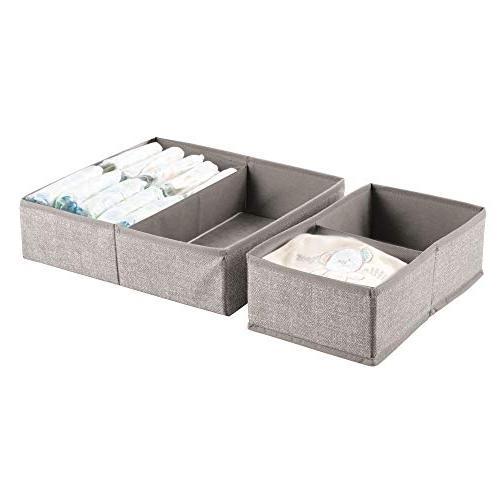 mDesign Soft Fabric Drawer Closet Organizer Set for Child/Kids Room, Nursery, Bedroom - Rectangular Set -