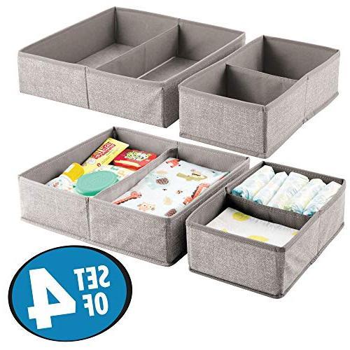 mDesign Soft Drawer Closet Organizer - Rectangular Organizer with Textured Print Set 4 Linen/Tan