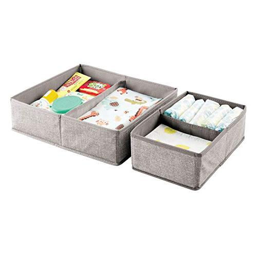 mDesign Soft Drawer and Room, Playroom, - Organizer Bins with Set Linen/Tan