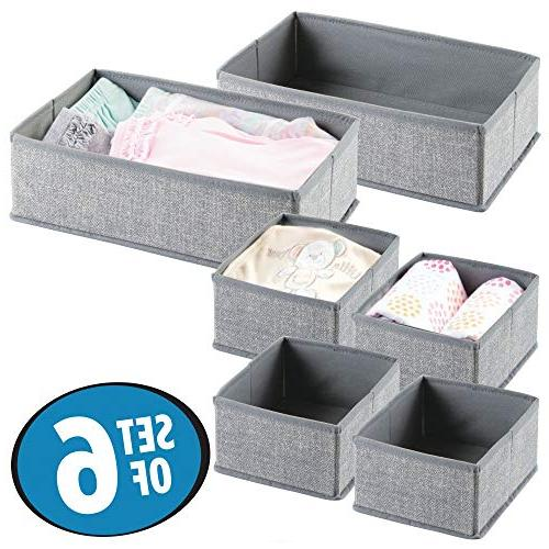 mDesign Nursery Storage Organizer for Baby Clothes, Set 6, Gray