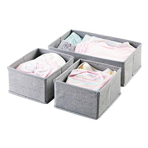 mDesign Fabric Organizer for Baby Clothes, Set of