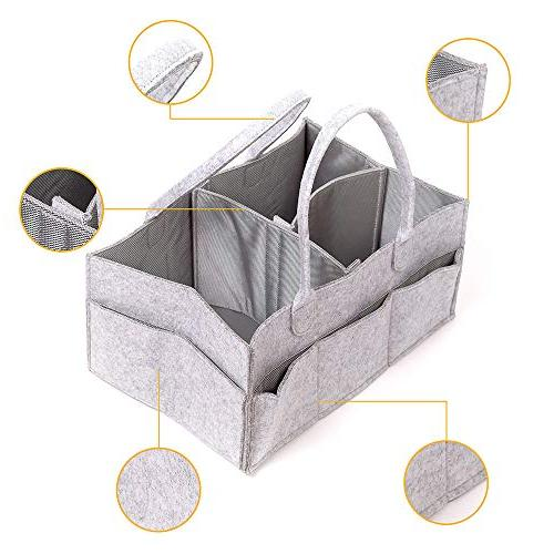 Felt Diaper Caddy Organizer | Compartments Best Baby Registry Gift, Nursery and Beach