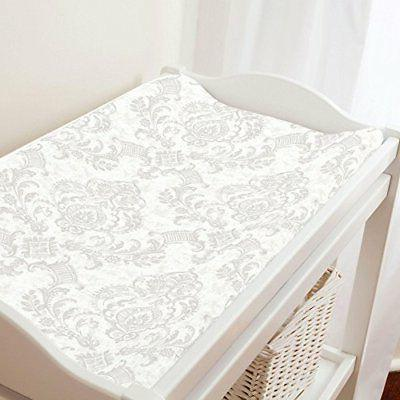 Carousel Designs French Gray Painted Damask Changing Pad Cov