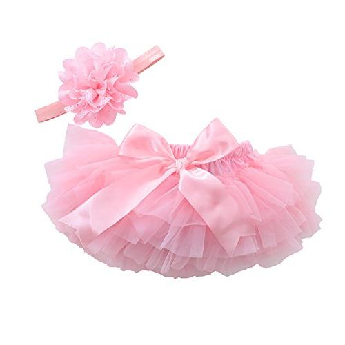 muyan Girls Cotton Tulle Ruffle with Bow Baby Bloomer Diaper