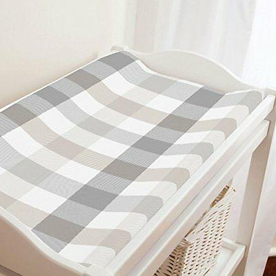 Carousel Designs Gray and Taupe Buffalo Check Changing Pad C