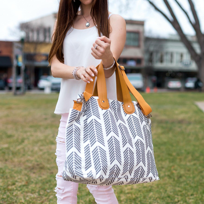 Gray Arrows Bag - Large Travel Overnight Bag