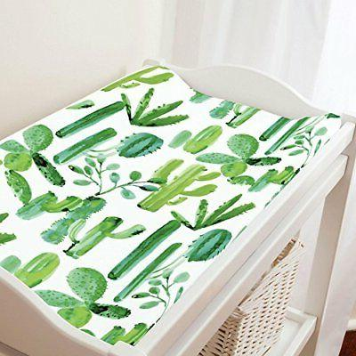 Carousel Designs Green Painted Cactus Changing Pad Cover - O