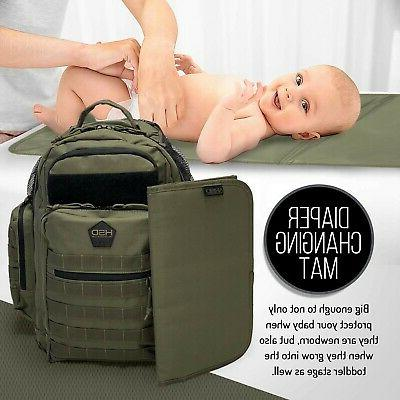 HSD Dad Backpack, Changing Mat, Wipes & Pockets,