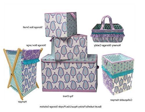 Bacati Paisley Nursery Caddy with Handles,