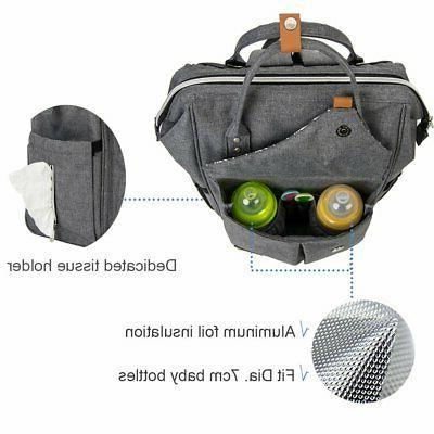 Lekebaby Large Diaper Backpack for Mom Grey Print