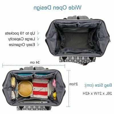 Lekebaby Diaper Bag Backpack for Grey Arrow Print