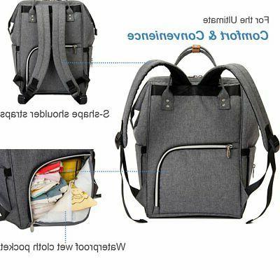 Lekebaby Diaper Backpack Grey with FREE