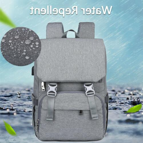 Large Mummy Diaper Bag USB Travel Backpack Baby