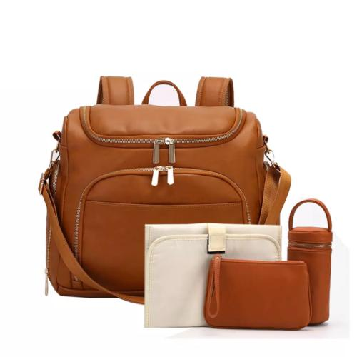 Leather PU Mummy Diaper Backpack Insulation Bag Pad