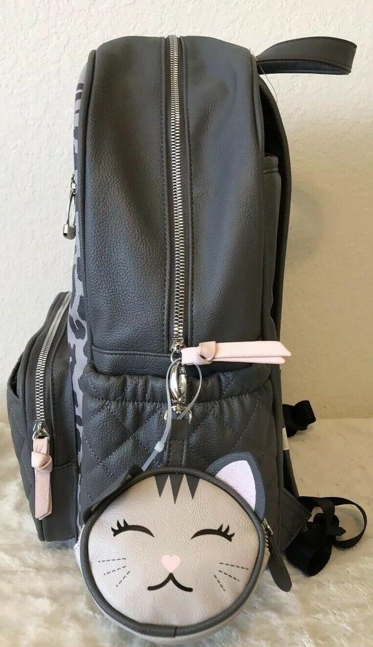 BETSEY LEOPARD BLUSH GRAY BABY BACKPACK DIAPER BAG