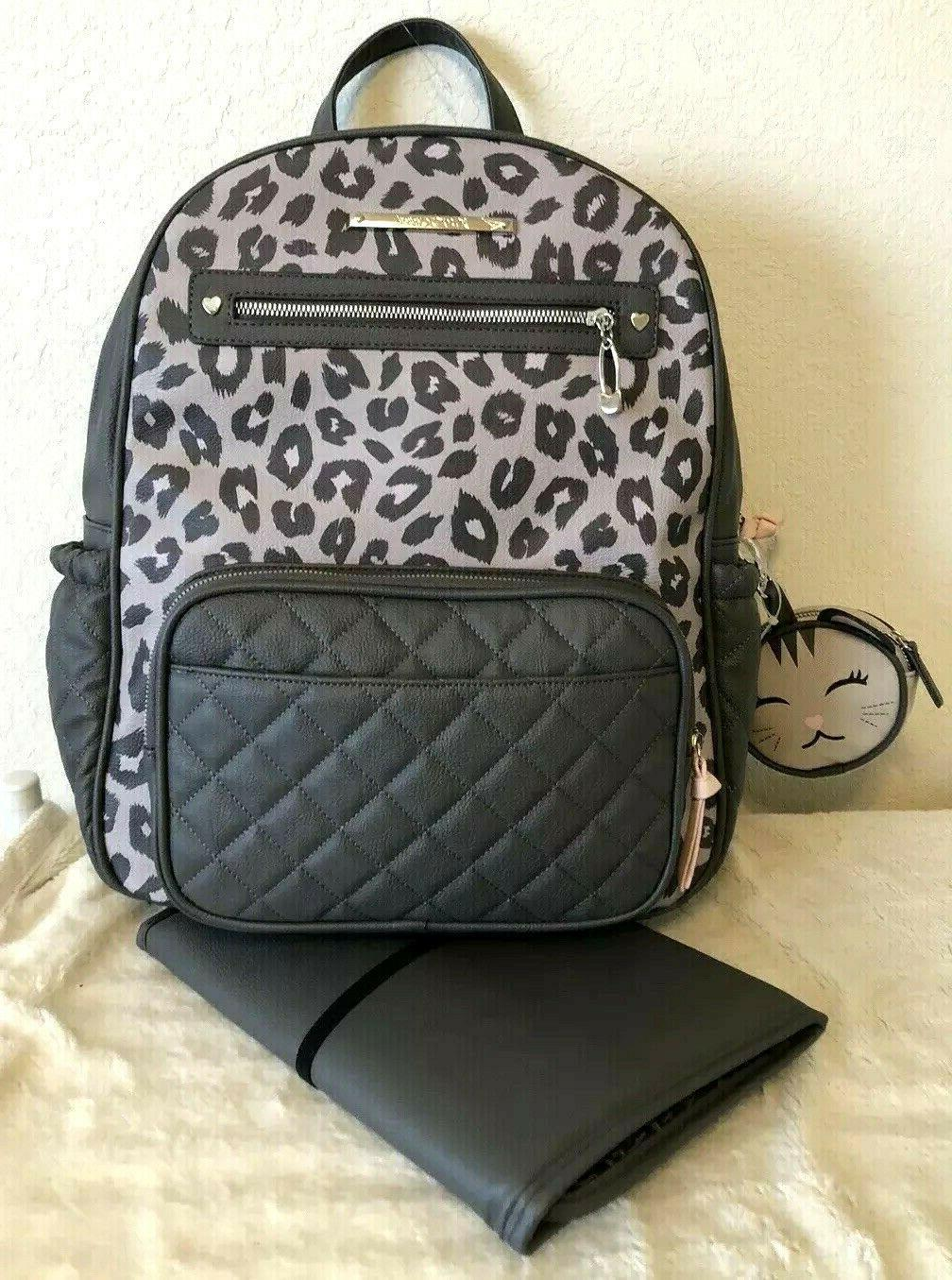 leopard blush gray 3pc baby backpack diaper