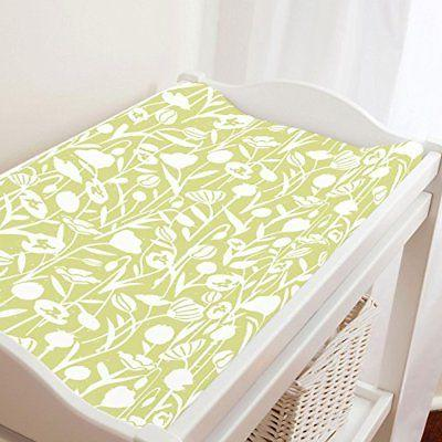 Carousel Designs Light Lime Poppies Changing Pad Cover - Org